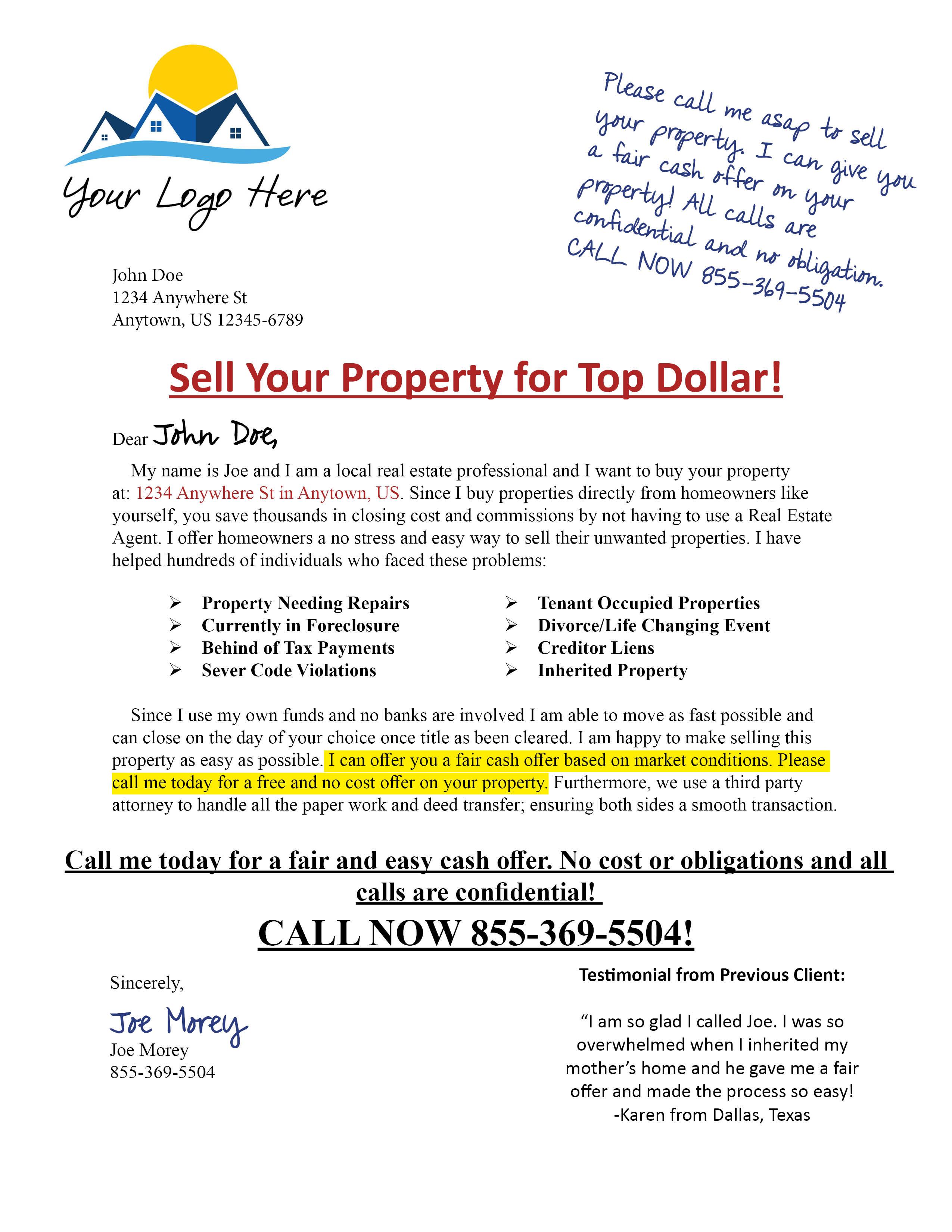 Pro Window Letter #1